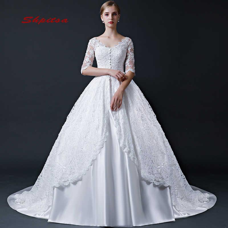אלגנטי תחרת שמלות כלה עם שרוול סאטן כדור שמלת חתונה בציר שמלות לנכש Weding כלה שמלות הכלה Weddingdress