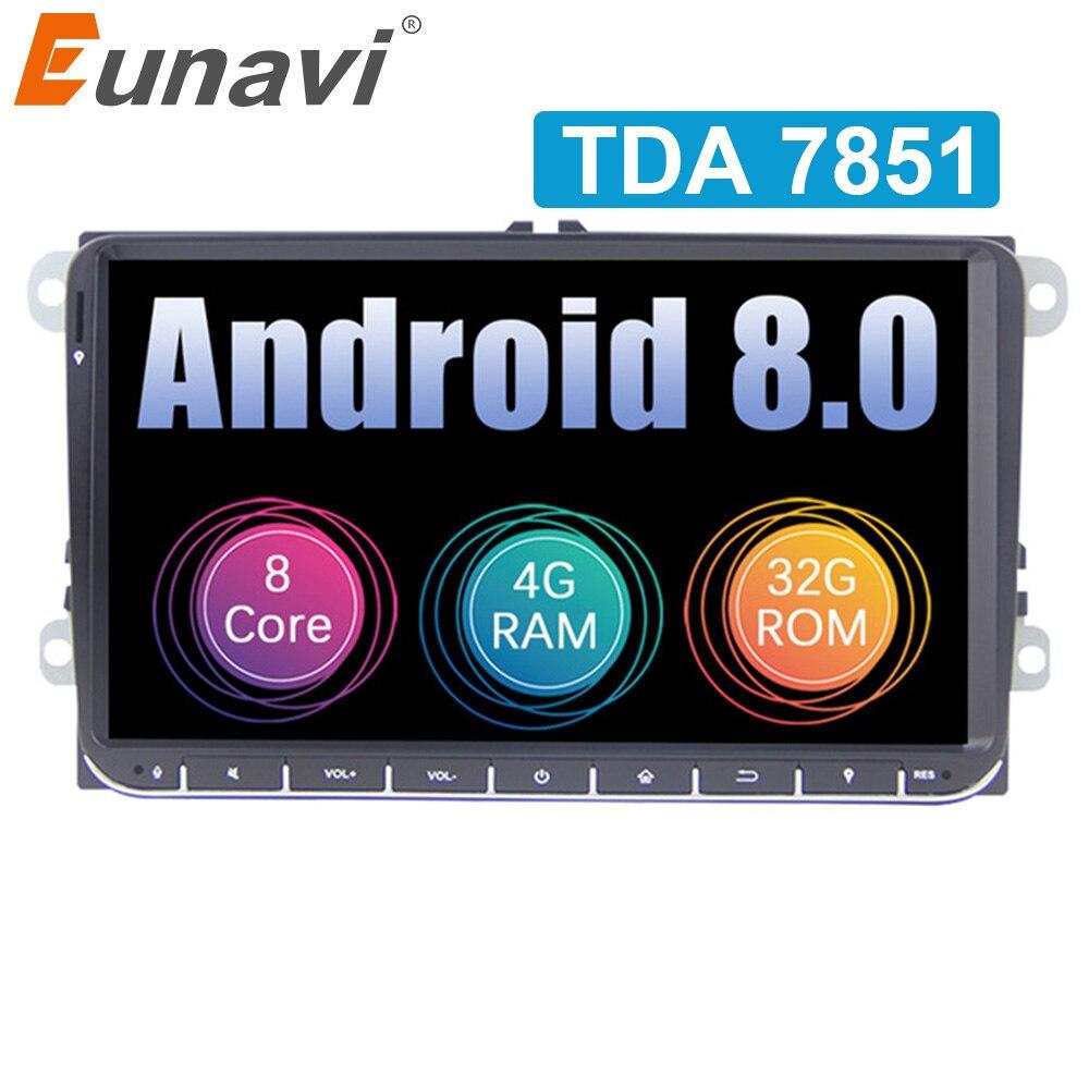Eunavi 2 din Android 8,0 автомобилей Радио gps для VW Passat B6 CC Поло Гольф 5 6 Touran Jetta Tiguan Magotan 9 ''экран с кнопкой