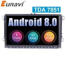 Eunavi 2 din Android 8,0 автомобилей Радио gps для VW Passat B6 CC Поло Гольф 5 6 Touran Jetta Tiguan Magotan 9 »экран с кнопкой