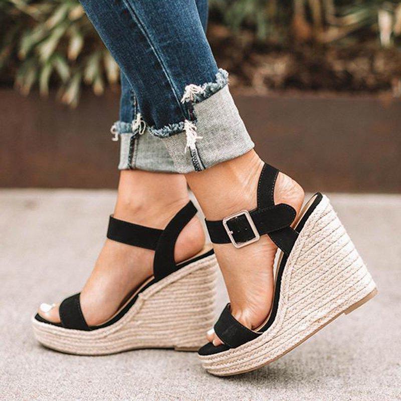 Summer Platform Sandals Women Peep Toe High Wedges Heels Ankle Buckles Sandalia Espadrilles Female Sandals Shoes kryte sandały na platformie