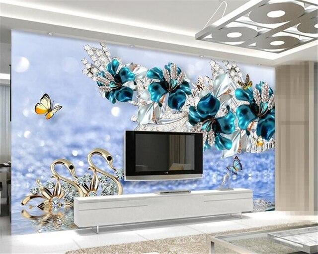 Beibehang Custom 3D Wallpaper European Diamond Swan Jewelry Golden Flower Background Decorative Modern Art Mural 3d