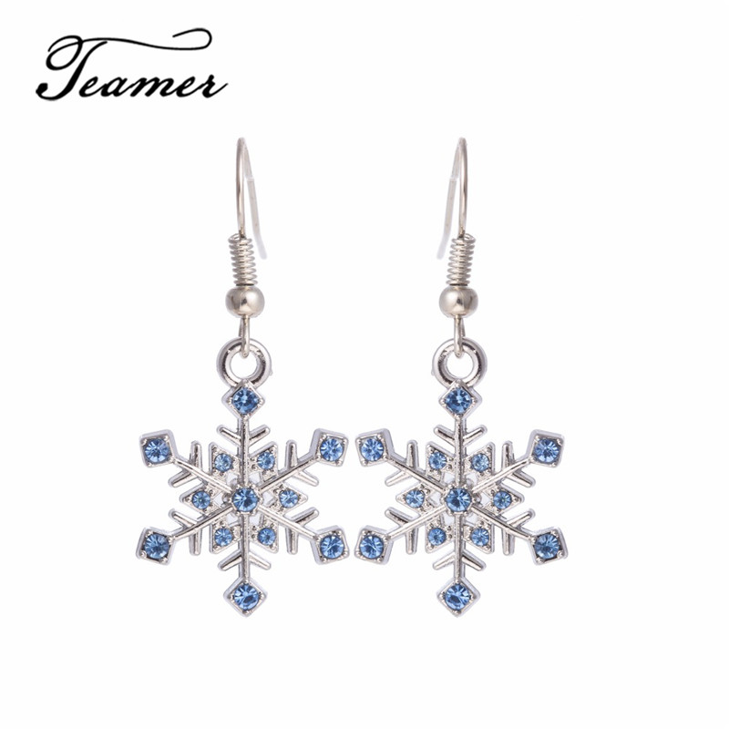 Teamer Blue and Green Crystal Snow Flower Women Fashion cuelga y cuelga los pendientes como regalos