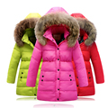 2016 inverno new girls thicking para baixo crianças jaqueta Meninas longa seção de gola de pele verdadeira jaqueta impermeável para baixo casaco crianças