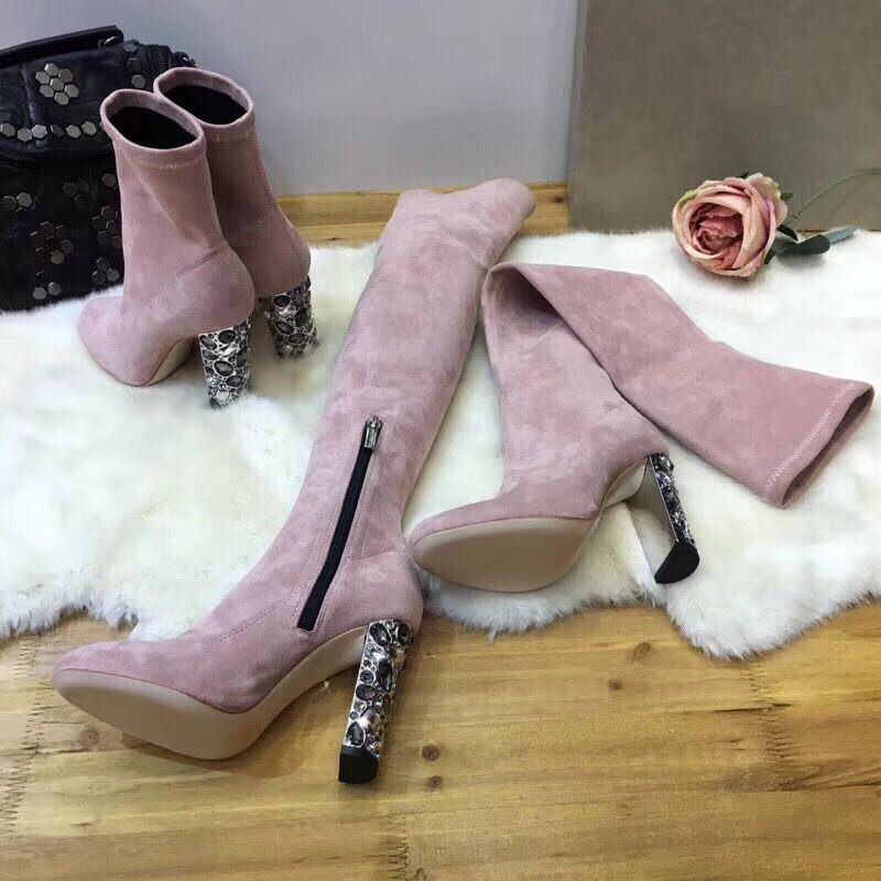 Новая мода Кристалл ботинки выше колена Для женщин стрейч ботинки из замши круглый носок 3 см каблук 10 см дамские носки сапоги