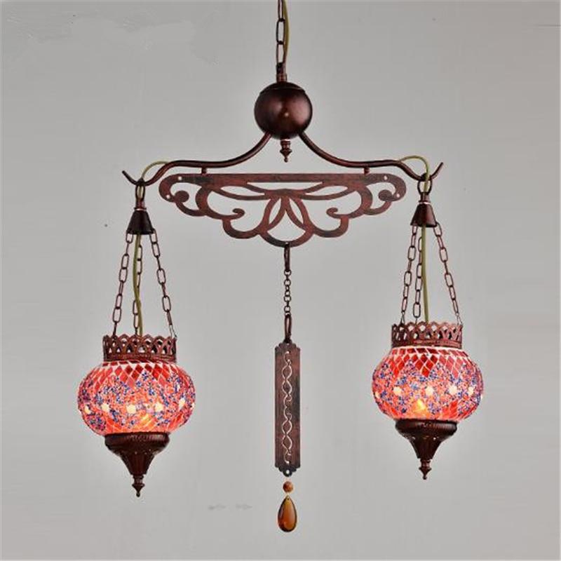 2 Heads New Classical Creative Bohemia Style Iron Pendant Light Restaurant Livingroom Bar Decoration Lamp Free Shipping