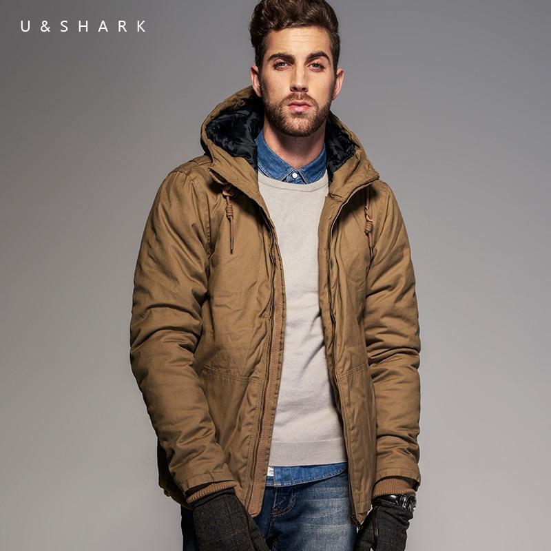 U & shark 겨울 코튼 패딩 파카 남성 브랜드 의류 패션 자켓 코트 thicken warm outerwear 캐주얼 후드 자켓 남성-에서파카부터 남성 의류 의  그룹 1