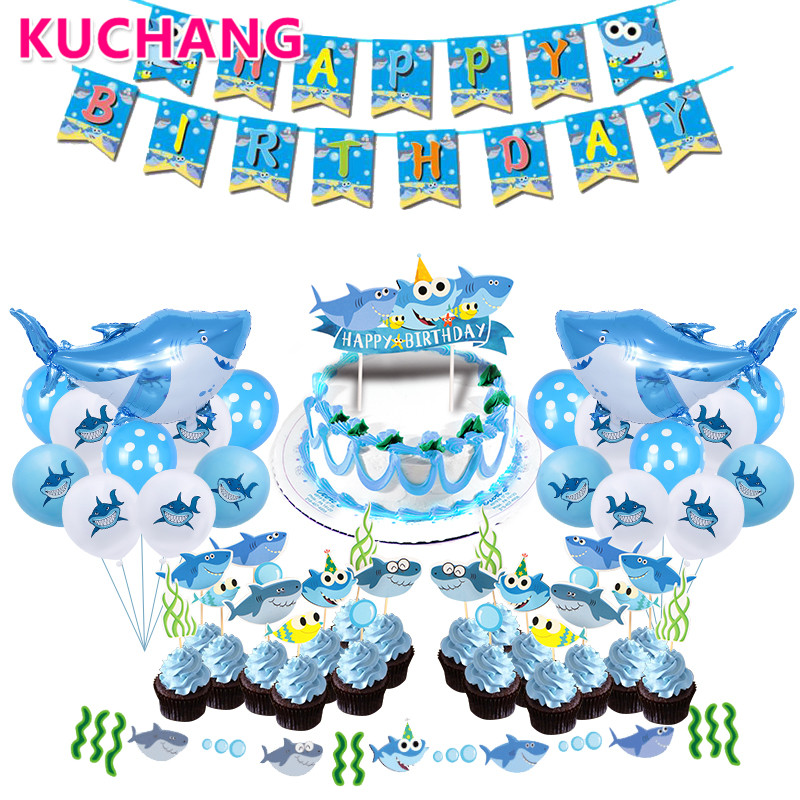 Shark Happy Birthday Banner Shark Cake Flags Blue Latex Balloons Kid's Birthday Party Decorations Baby Shower Sea Party Supplies
