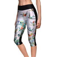 Kuşlar Tasarım Yüksek Bel Kadınlar Orta Buzağı Tayt Seksi Kız Spor Yoga Kırpılmış Pantolon Lady Yeni Sıcak Elastik Nefes kapriler