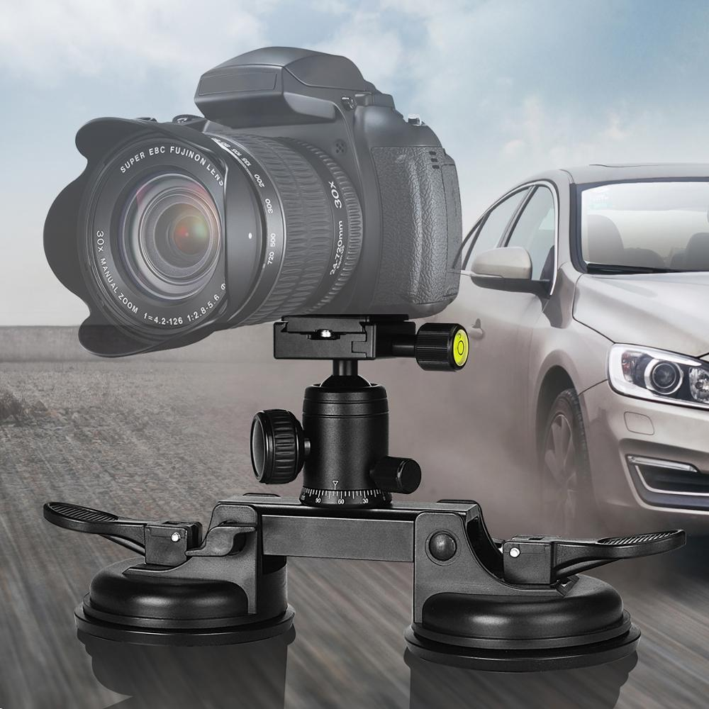 Double Vacuum Suction Cup Heavy Duty Camera Holder Mount for Canon Nikon Sony DSLR Camcorder Windshield
