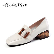 AIKELINYU Casual Women Shoes 2019 Brand Design Heeled High Quality Genuine Leather Pumps New Arrival Fashion Woman