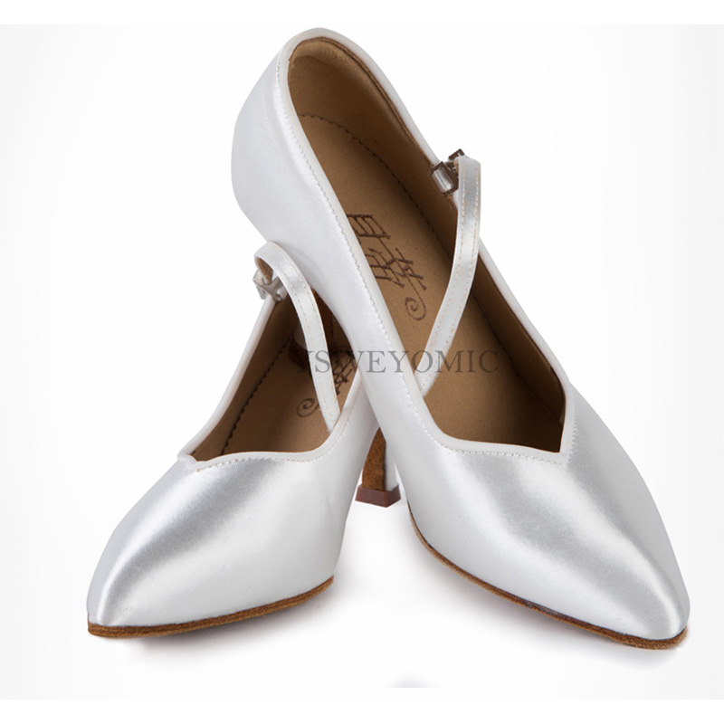 Ballroom BD Dance Shoes Standard Flesh Beige Black White Satin Low High 7cm Heel Ballroom Latin Dance Shoes For Women BD138