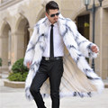 S-3XL Otoño invierno hombres de la manera normic faux fur abrigo trench diseño largo abrigo de lana abrigo de piel de los hombres chaquetas peluda abrigos