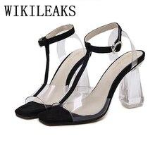 2017 dames de gelée chaussures Cristal épais avec transparent sandales femmes designer de luxe marque sexy extrême haute talon T-Sangle sandale