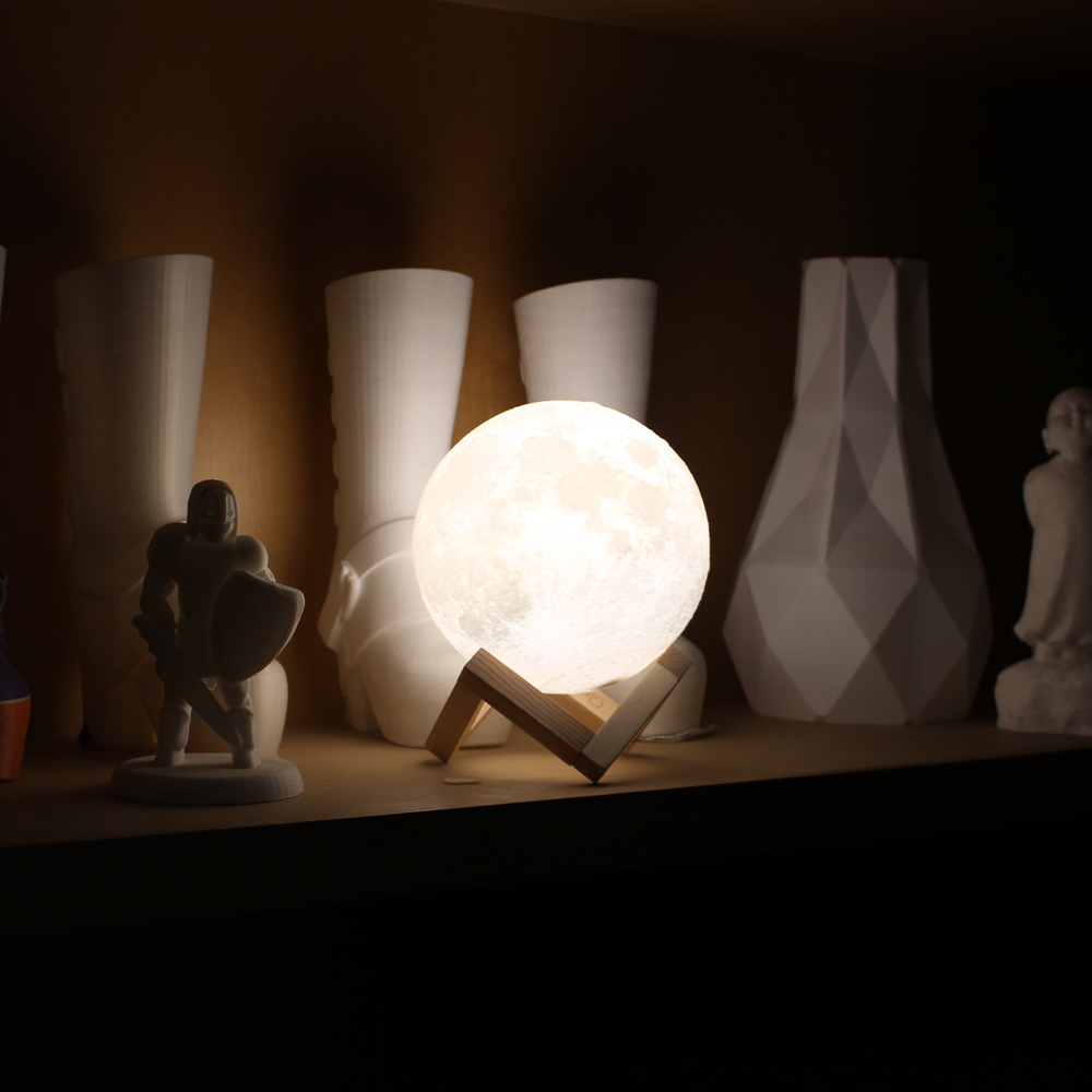 New 3D Printing Moon USB Light 2-Colors Dimmable Touch Sensor 9/10/12/14/15/18cm Bedroom ...