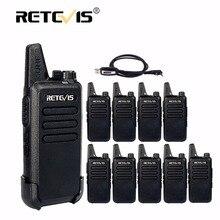 10 stücke Retevis RT22 Mini Walkie Talkies Radio 2 Watt 16CH UHF VOX Tragbare cb Radio Hf Transceiver Mini-USB Ladung Gehen sprechen + Kabel