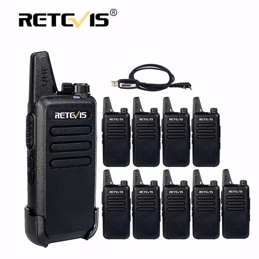 imágenes para 10 unids Retevis RT22 Mini Walkie Talkies de Radio 2 W 16CH Hf Transceptor de Radio cb UHF VOX Portátil Mini-USB de Carga Paseo charla + Cable