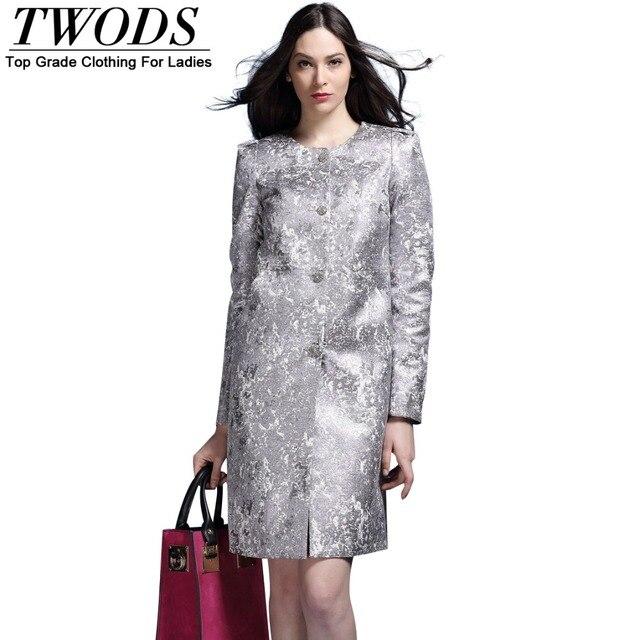 Twods 2015 новое прибытие прямо стиль роскошные серебряные пальто для женщин весна длинным рукавом о-образным вырезом однобортный пальто