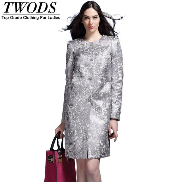 Twods 2015 recién llegado de straight estilo de plata de lujo trench coat para las mujeres de primavera de manga larga del o-cuello de un solo pecho abrigos