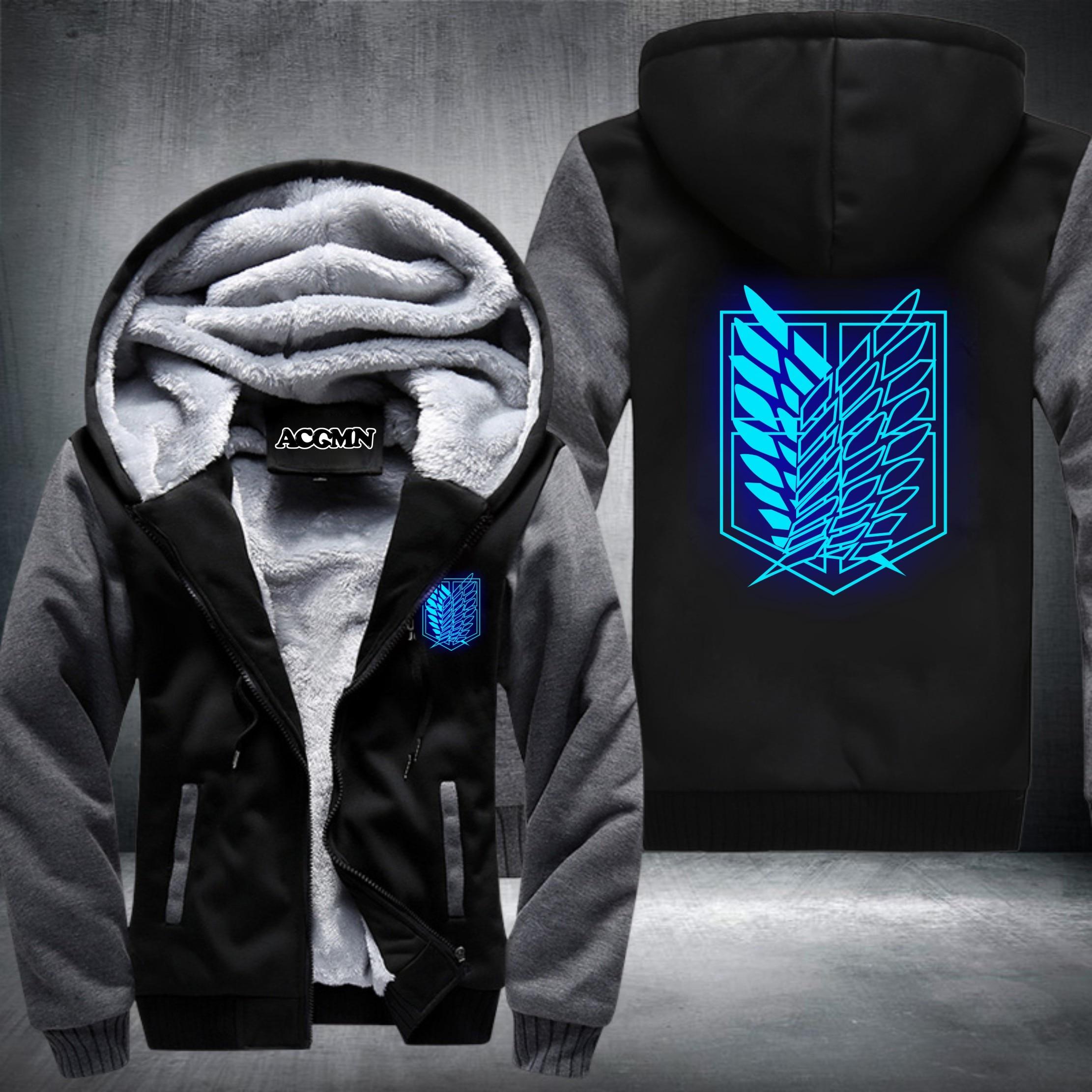 New Shingeki No Kyojin Attack on Titan Aren Thicken jacket hoodies coat extra cotton Black BLUE GREY RED USA Size
