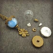 6sets/lot 15mm half of glass globe with base set vial pendant fashion necklace