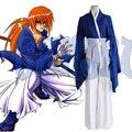 Anime japonés Rurouni Kenshin HIMURA KENSHIN Azul kimono unifrom Cosplay Disfraces de Halloween para hombre japón kimono top y pantalones