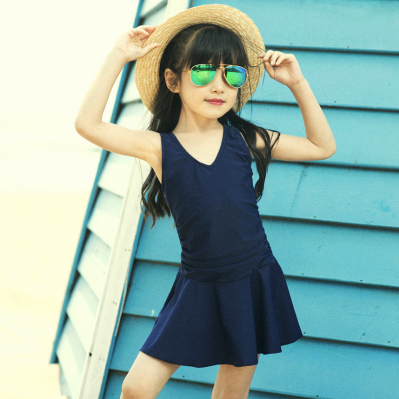 2-15 years old Girls' Spa Bathing Suits Swimwear Bow Conservative Children <font><b>Swimsuits</b></font> Pure Color <font><b>Skirts</b></font> Kids <font><b>One</b></font> <font><b>Piece</b></font> <font><b>Swimsuits</b></font> image