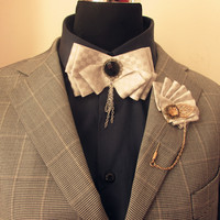 1set New fashion men brooch flower lapel pin suit boutonniere ribbon pins button brooches bow tie set for party wedding 4 color