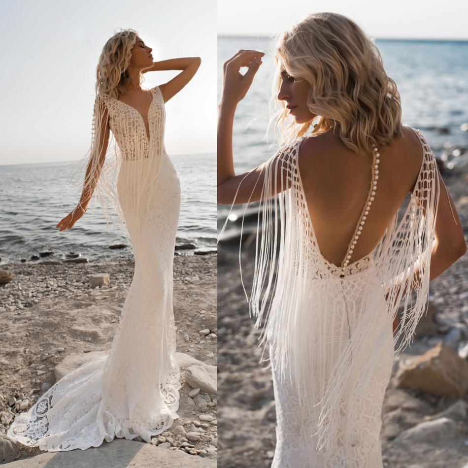 2019 Bohemian Wedding Dresses Sexy V Neck Lace Appliques Beading Bridal Gowns Beach Mermaid Wedding Dress Robe De Mariee