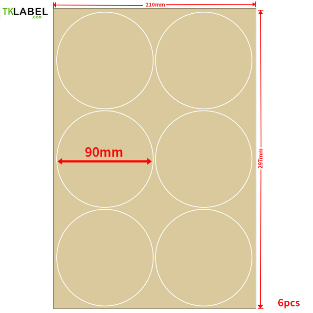 120pcs 90mm round kraft paper printing label a4 diecut print stickers for inkjet laserjet