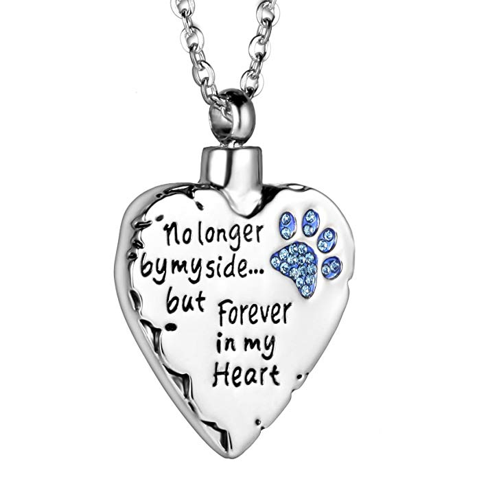 JJ002 Cheap Wholelsale Blue Crystal Dog paw - No Longer By My Side,But Forever In My Heart Cremation Urn Pendant For Ashes