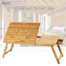 SUFEILE Simple Wooden Laptop Table Bamboo Folding Table Portable Outdoor Office Desk Bed Computer Desk SImple Learn Desk D50(China)