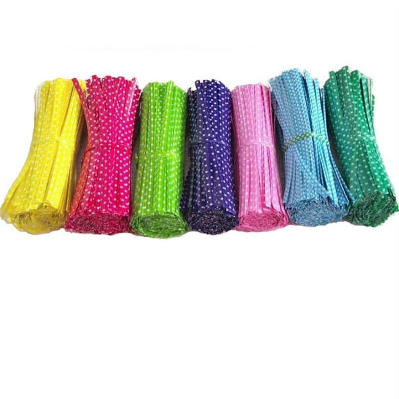 100pcs/lot 9cm Wire Metallic Twist Ties For Cello Candy Bag Steel Baking Packaging Ligation Lollipop Dessert Sealing Twist Tie