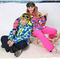 30 Degree Children Outerwear Warm Coat Sporty Ski Suit Kids Clothes Sets Waterproof Windproof Girls