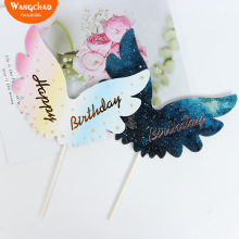 Happy Birthday Cake Topper Ingredients Wings Decorating Baby Shower Party Decoration Cupcake