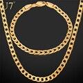 U7 banhado a ouro conjunto de colar na moda do partido ouro amarelo/rose banhado elo da cadeia cubano colar pulseira conjunto de jóias homens s550