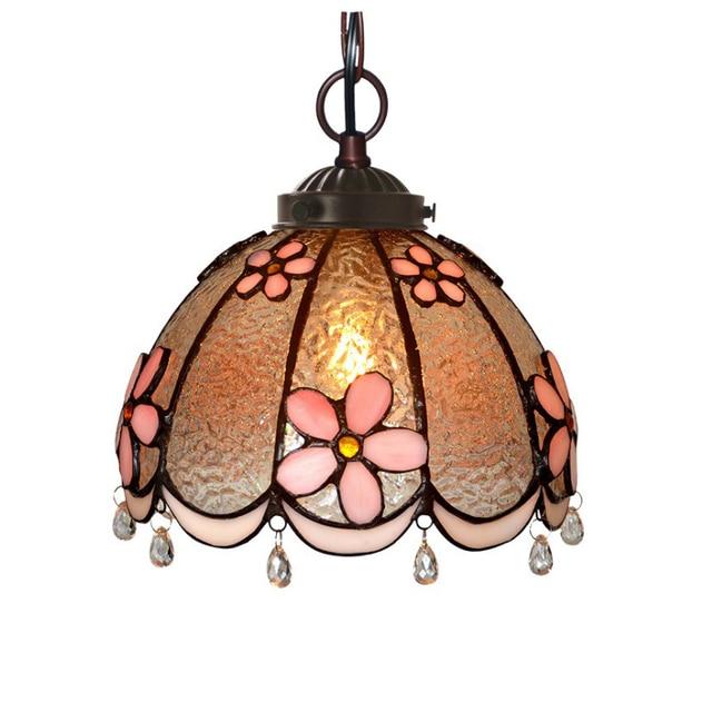 Post Modern Stained Gl Pink Flower Led Hanging Lamp Pendant Light Bar Cafe Tabletop Balcony