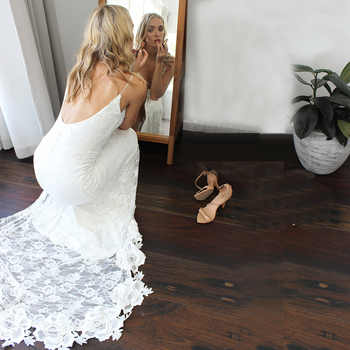 Charming Deep V-neck Lace Wedding Dresses with Slit Sexy Backless Boho Bridal Dress Garden Beach Robe de Mariage 2019 Bride Gown - DISCOUNT ITEM  40% OFF All Category
