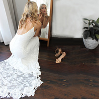 Charming Deep V neck Lace Wedding Dresses with Slit Sexy Backless Boho Bridal Dress Garden Beach Robe de Mariage 2019 Bride Gown