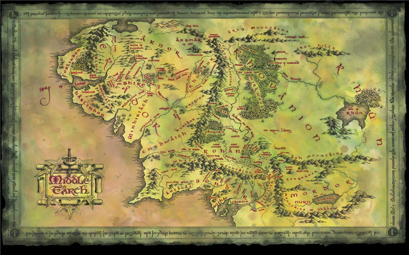 Lord Of The Rings Middle Earth Map Printed Wall Pictures For: Lord Of The Rings Map At Infoasik.co