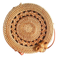 Handwoven Thick Classic Round Rattan grass Bag Brown