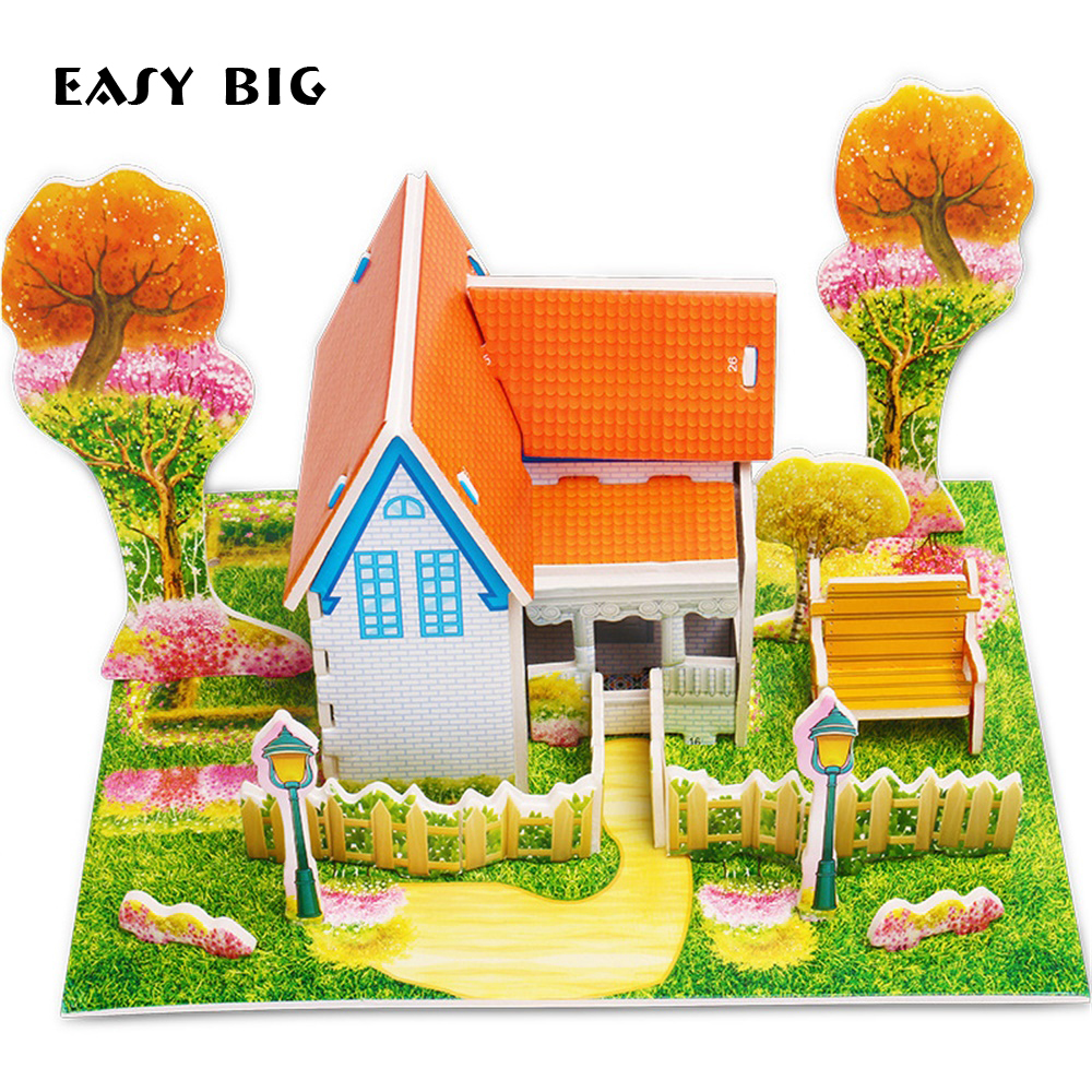 3D DIY Puzzle Jigsaw Baby Toy Kid Early Learning Castle Construction Pattern Gift For Children Educativo Houses Puzzle NR0046