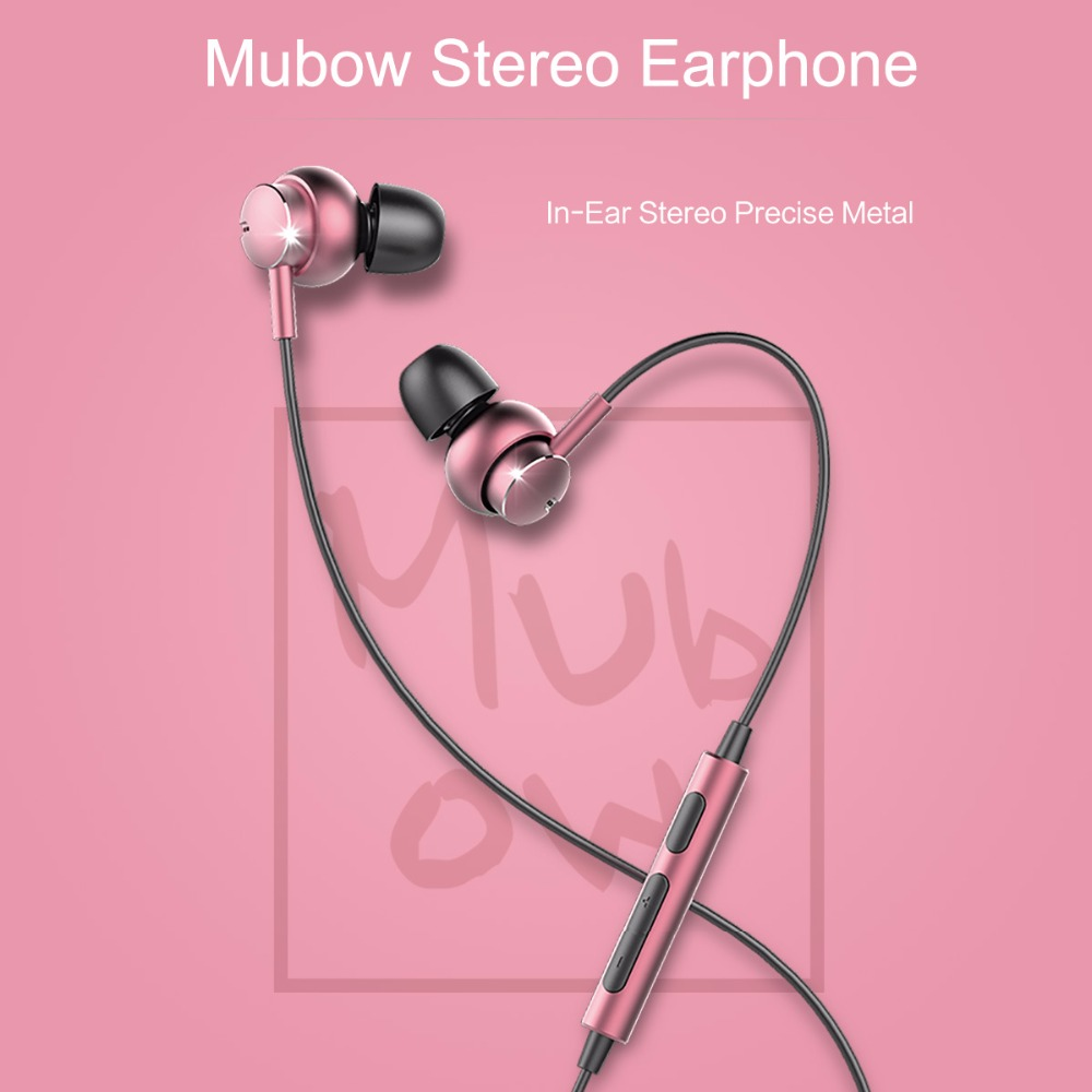 Stereo Earphone With Mic, ROCKSPACE Mubow In-Ear Headset Earbuds For Xiaomi 3.5mm Aux Noise Cancelling Metal Microphone brand kz ed headset gold plated headphone housing earbuds noise cancelling earphone stereo with microphone for earpods airpods