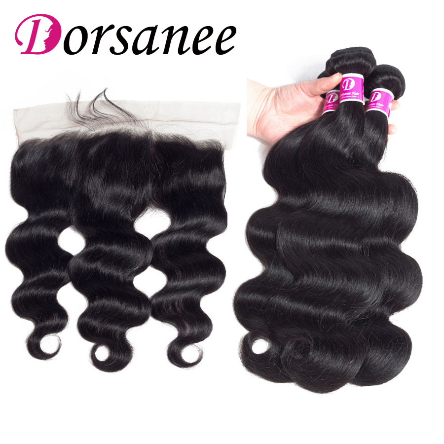 Dorsanee Hair Bundles With Lace Frontal Closure 13x4 Indian Body Wave Weaves Non Remy Human Hair Extension