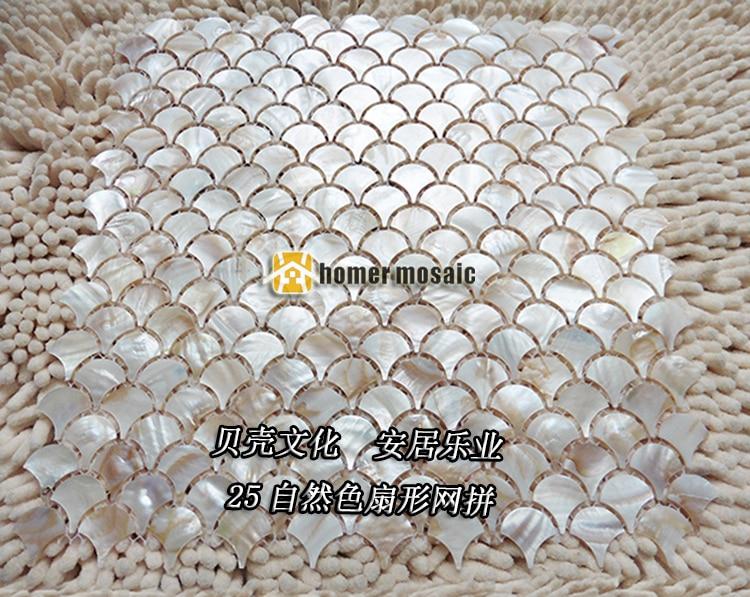 Naturliche Fischschuppen Fan Form Shell Perlmutt Mopp Mosaik Fliesen