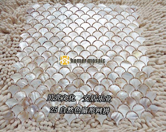 Buy natural fish scale fan shape shell for Fish scale backsplash