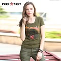 Brand Summer Women Tops&Tees Army Green Printing Cotton Conventional Fashion T Shirts Active Tee Shirt Big Size Gs-8502A