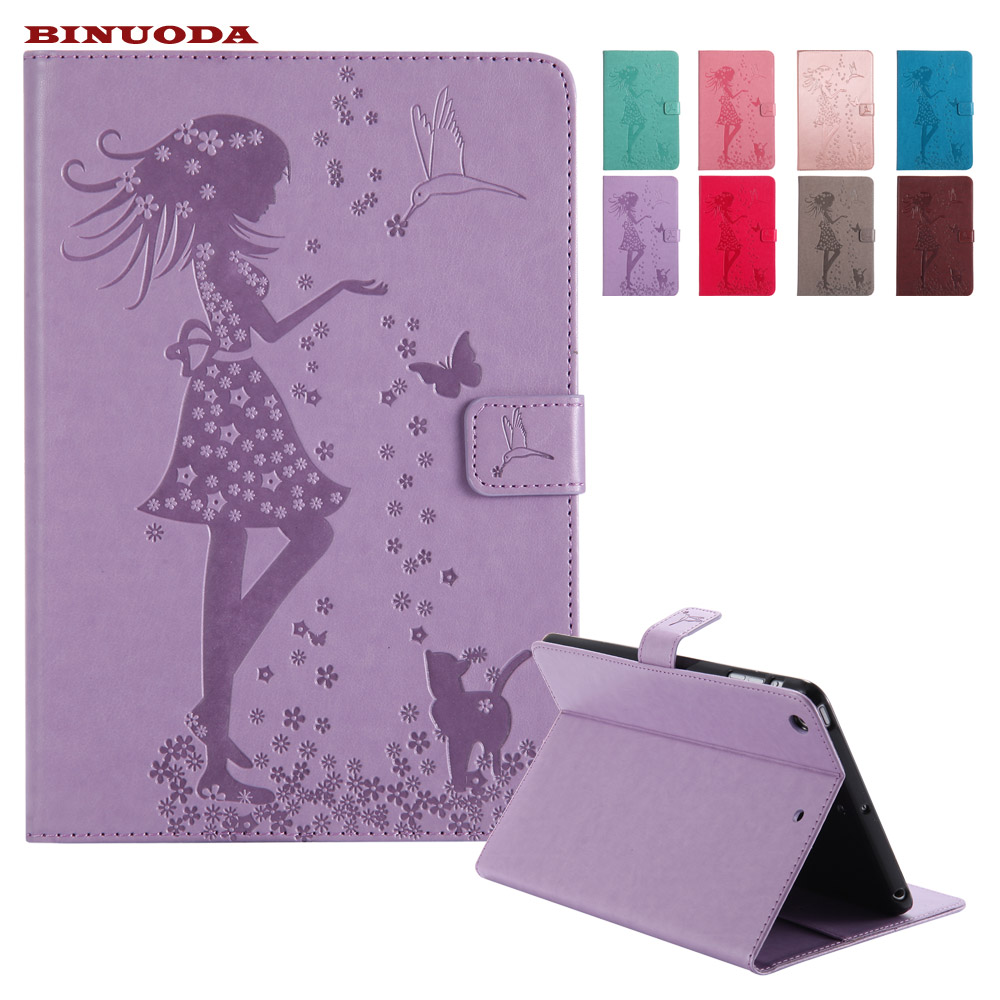 Smart Cover for iPad Mini 3 2 1 Fundas Woman and Cat Embossed Flip PU Leather Magnetic Closure Stand Case for iPad Mini2 3 1