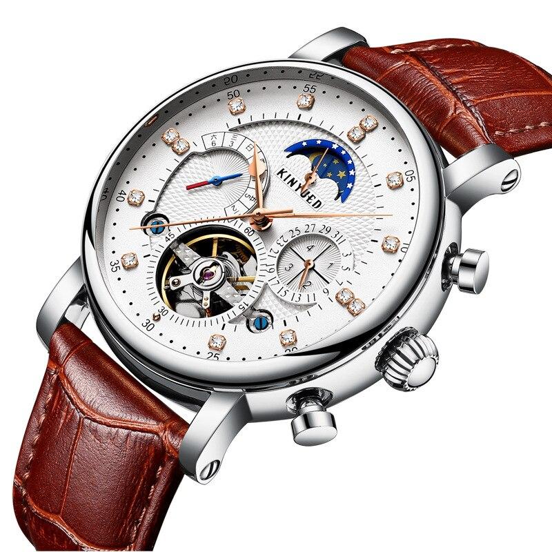 Kinyued Skeleton Tourbillon Mechanical Watch Automatic Men Classic Male Gold Dial Leather Mechanical Wrist Watches J025P-3 機械 式 腕時計 スケルトン