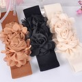 Women Sweet Style Rose Flower Elastic Dress Waist Band Stretchy Belt Newest