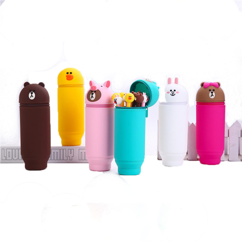 Q UNCLE  Pen Container Telescopic 3D Cartoon Pencil Case Silica Gel Office School Supplies For Kids